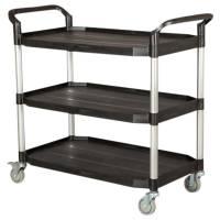 Rullebord, Tina Trolleys, 1,1m x 52cm x 1,02m, sort, med styr, 3 hylder, åben, fiberplast *Denne vare tages ikke retur*