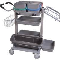 Rengøringsvogn, Tina Trolleys Exclusive, 1150x600x1100mm, grå, mikrofiber *Denne vare tages ikke retur*