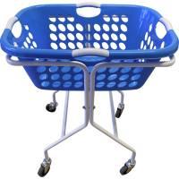Vaskerivogn, 50 l, firkantet blå kurv med 4 greb