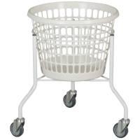 Vaskerivogn, 60cm, Ø44cm, 32 l, hvid, galvaniseret stål/plast, rund, 3 hjul *Denne vare tages ikke retur*