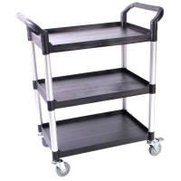 Rullebord, Tina Trolleys, 850x480x1000mm, sort, fiberplast, med styr, 3 hylder, lille *Denne vare tages ikke retur*