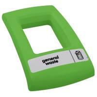 Låg, Enviro, grøn, med åbent indkast, til alle typer affald *Denne vare tages ikke retur*