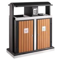 Udendørs affaldsspand, 100 l, sort, 2-rums *Denne vare tages ikke retur*