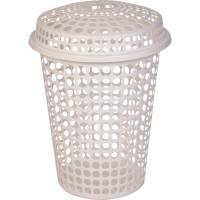 Vasketøjskurv, Tina Trolleys, 65cm, Ø47cm, 60 l, hvid, plast, med låg