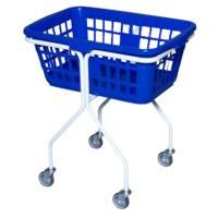 Vaskerivogn, 65x48x74cm, 50 l, hvid, plast, blå kurv, firkantet *Denne vare tages ikke retur*