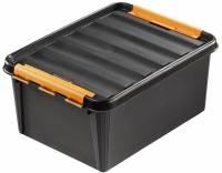 Plastkasse SmartStore Pro 31 sort 32l robust m/låg 50x39x26cm