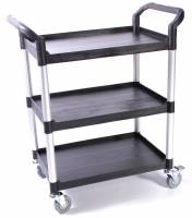 Bordvogn ( Serveringsvogn )m/3 hylder Sort fiberplast/alu ben