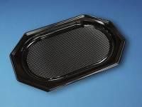 Cateringfad A-PET sort mellem 450×300×25mm oval 10x10stk/kar