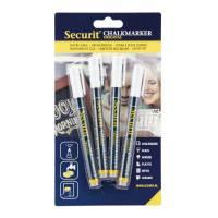 Chalkmarker Securit hvid 1-2mm 4stk/pak