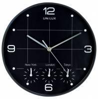 Vægur Unilux On-Time sort ø30,5cm 4 tidszoner