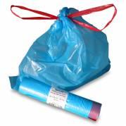 Affaldspose m/snortræk lukning 440x520mm blå 20l 25ps/rl