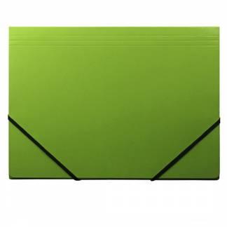 Kartonmappe Q-Line A4 grøn m/3 klapper & elastik blank