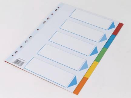 Faneblad Q-Line A4 5-delt karton m/kartonforblad