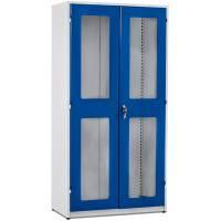 Opbevaringsskab i stål - GBP 2000x1020x540mm Gråhvid/Blå Plexi