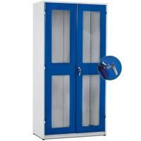 Opbevaringsskab i stål - GBP 2000x1020x540mm Gråhvid/Blå Kodelås Plexi