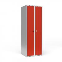 Dobbeltskab/parskab 300+300 mm Lige tag 2-søjlet Parvis lås Rød dør Greb for hængelås