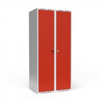 Dobbeltskab/parskab 400+400 mm Lige tag 2-søjlet Parvis lås Rød dør Greb for hængelås