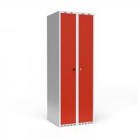 Dobbeltskab/parskab 300+300 mm Lige tag 2-søjlet Parvis lås Rød dør Cylinderlås