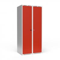 Dobbeltskab/parskab 400+400 mm Lige tag 2-søjlet Parvis lås Rød dør Cylinderlås