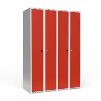 Dobbeltskab/parskab 300+300 mm Lige tag 4-søjlet Parvis lås Rød dør Cylinderlås
